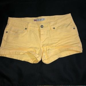 LEVI'S Canary Yellow Shorty Short Denim Shorts 11